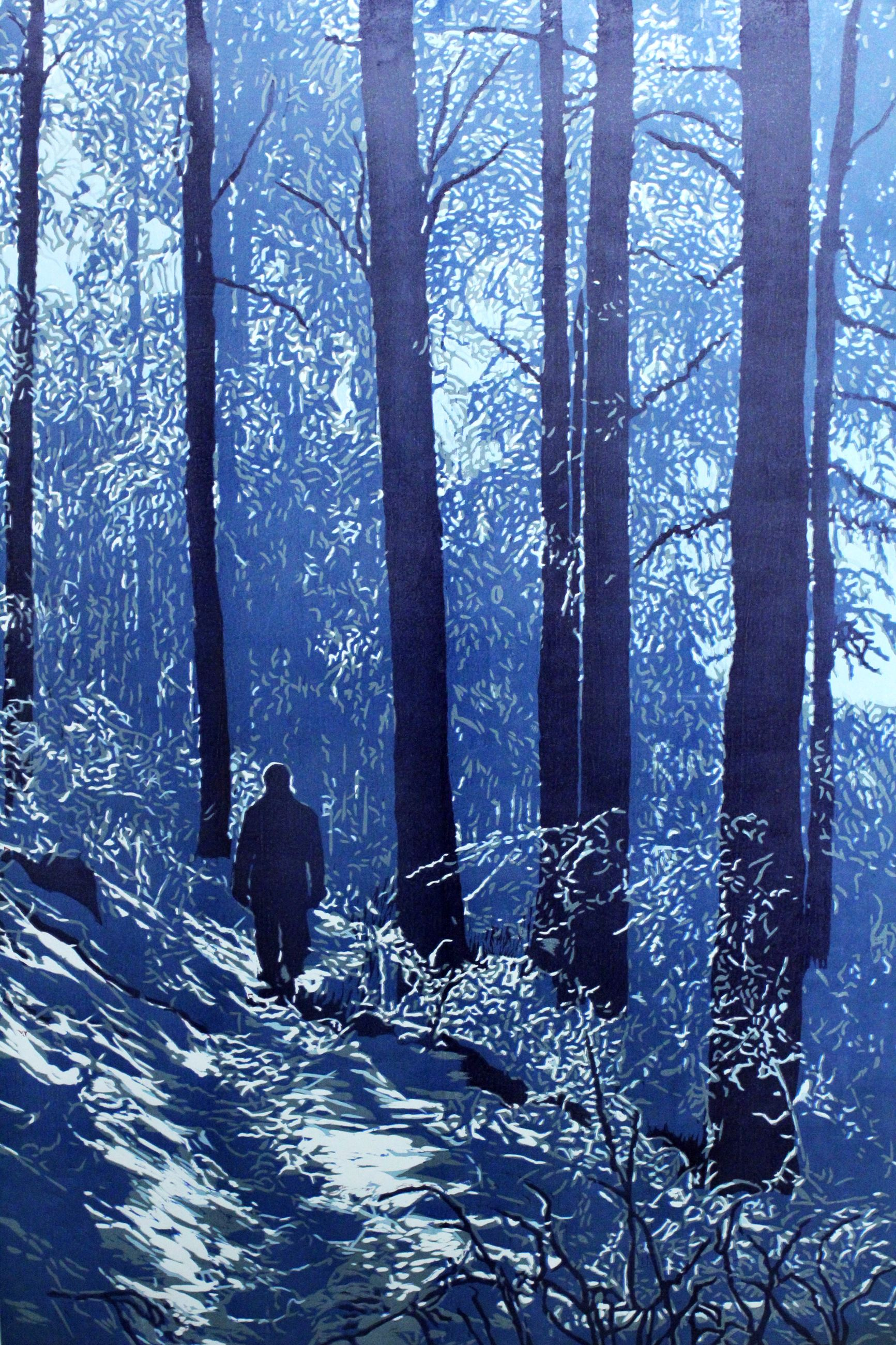 Waldspaziergang (Walk in the Forest) Reduction Woodcut by Katharina Bossmann