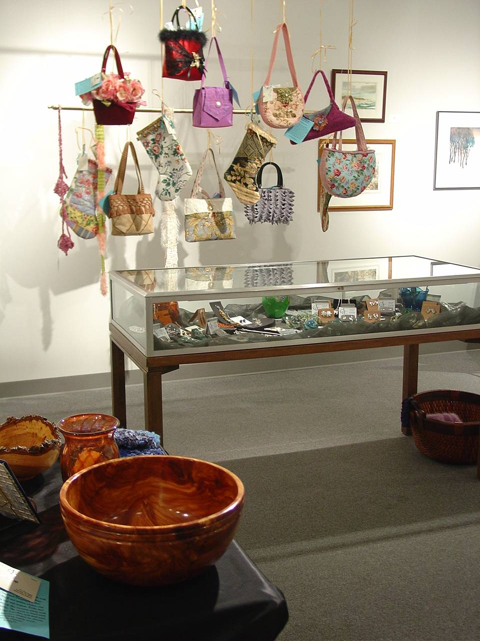 Handmade purses and bowls on display at the gallery