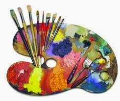 Art palette and brushes